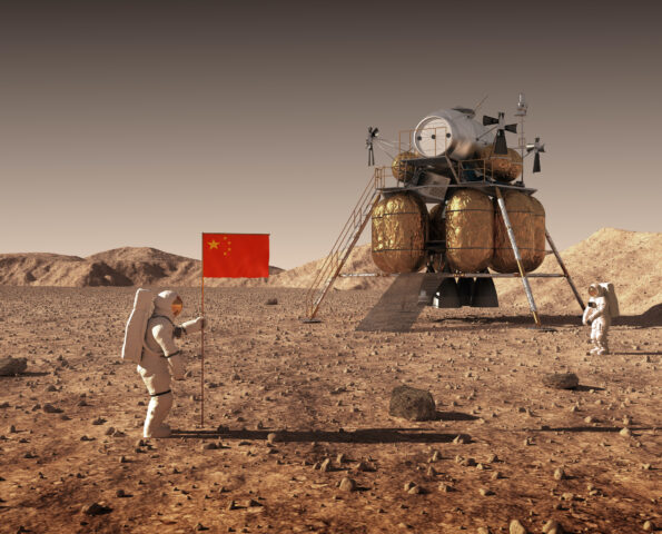 Astronauts Set An Chinese Flag On The Planet Mars. 3D Illustration.
