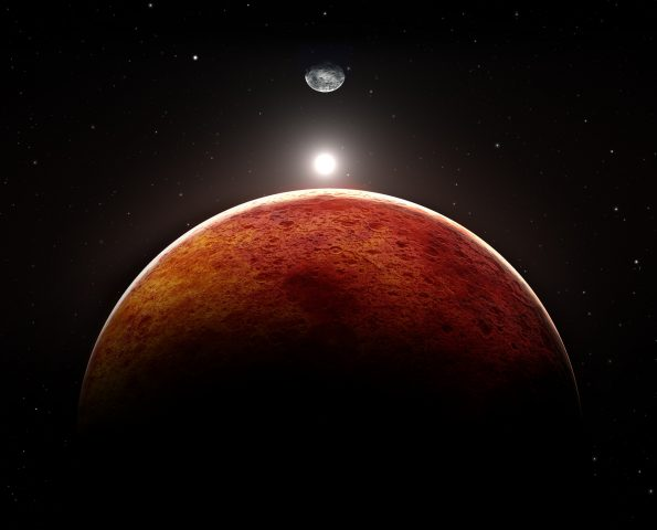Planet Mars with moon