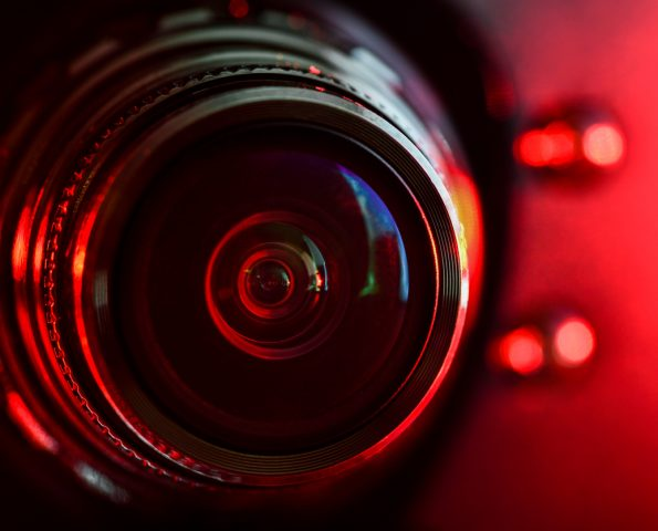 Camera lens and red backlight