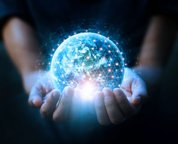 Man hands holding blue earth and global networking connection and data exchanges, global communication network concept, Elements of this image furnished by NASA.