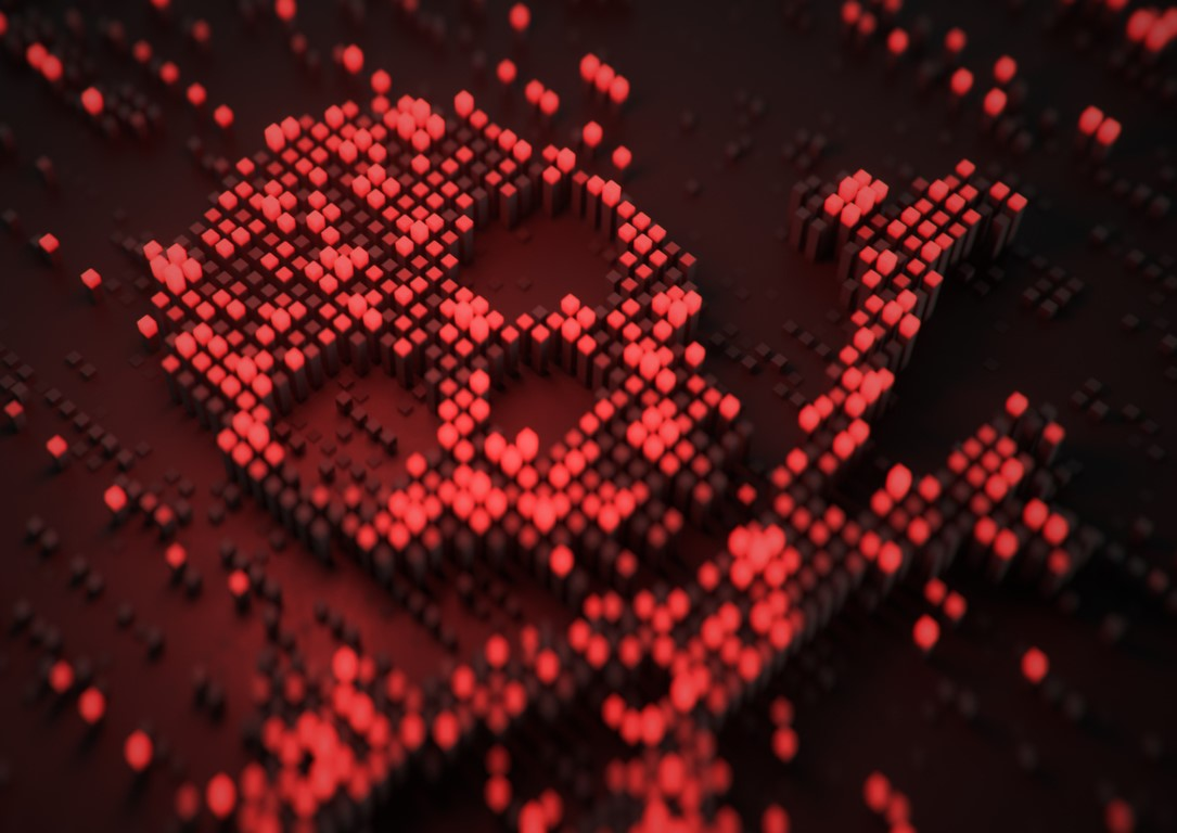 A skull and cross bones that is made up of small, glowing red cubes so that it looks pixelated on a black background.